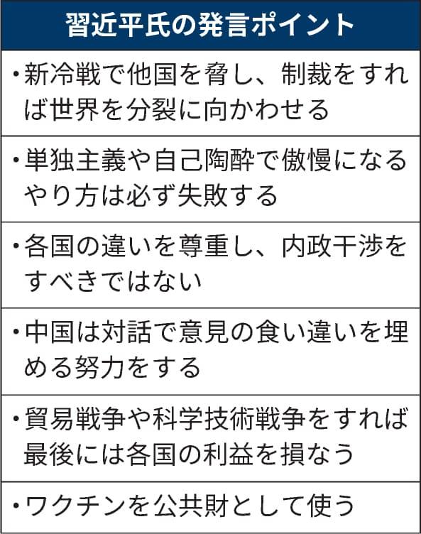 習近平氏の発言ポイント