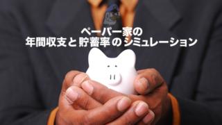 ペーパー家の年間収支と貯蓄率のシミュレーション